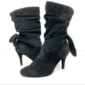 Diba Black Suede Sexy Lace-up Mid-calf Boot 8.5